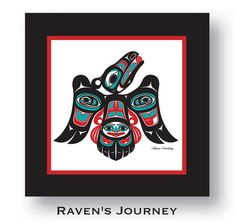 "$75.00 ""Ravens Journey"" Framed 8 X 8 Giclée Print Northwest Native American design by Israel Shotridge. #Raven #Journey #NativeArt #Alaska #tlingit #giclee #NativeAmerican #Northwest"