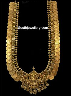 22 carat gold antique Lakshmi kasulaperu haram with Goddess Lakshmi pendant by SRJ Fine Jewelry. Gold Temple Jewellery, Gold Jewellery Design, Gold Jewelry, Antique Jewelry, Gold Earrings, Jewellery Earrings, Choker Necklaces, Diamond Jewellery, Handmade Jewellery