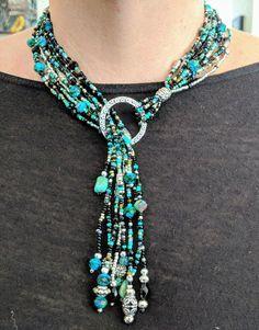 Bead Jewellery, Wire Jewelry, Textile Jewelry, Jewelry Art, Jewelry Crafts, Jewelry Design, Jewelery, Jewelry Necklaces, Beaded Jewelry