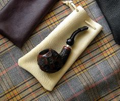 Leather Pipe Bag -- Leather Pipe Sock for your Tobacco Pipe w/ Leather Drawstring Standard size
