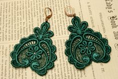 EMERALD lace earrings DARLA forest green by tinaevarenee on Etsy, $22.00