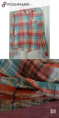 Plaid Hollister long sleeve Plaid long sleeve shirt. Multicolored. A tear on the left sleeve. And a small stain on the bottom. Has been worn a few times. Hollister Tops Button Down Shirts