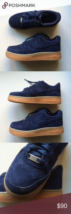 Blue Suede Nike AF1 Worn once!! Blue perforated suede Nike Air Force 1 with tan rubber sole. Size 6.5 womens. No offers - firm price because they have only been worn once. Nike Shoes Sneakers