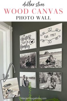 This DIY photo wall idea from Interior Frugalista is a budget-friendly way to turn favorite family memories into a stunning black and white gallery wall with cheap dollar store wood canvas frames. It's so easy and takes very little time that you can have your photo wall up the same day and at a fraction of the cost of readymade options. #diywallart #photocollage Wood Canvas, Diy Canvas, Black And White Photo Wall, Black White, Upcycled Home Decor, Diy Photo, Photo Ideas, Photo On Wood, Photo Canvas