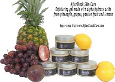 Exfoliating Gel made with fruit derived alpha hydroxy acids. NOW 60% off. Only $14.00 until Friday, midnight. www.AfterShockCare.com