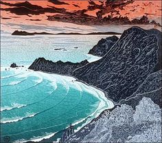 Tom Killion, Point Reyes from Double Point, woodblock print Art And Illustration, Linocut Prints, Art Prints, Block Prints, Local Painters, Japanese Woodcut, Landscape Prints, Beach Landscape, Wood Engraving