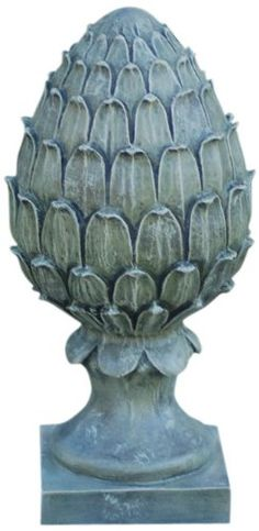 Top Garden Finial - Lawn Ornament - Large Pineapple Statue, 18.5in H x  RJ66