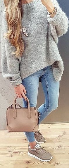 #fall #outfits grey sweater jeans sneakers
