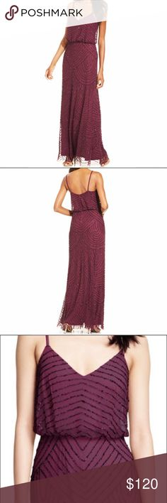 """Adrianna Papell Deco Evening Gown Maxi Dress sz 8 Worn once! Beatific Art Deco style formal  beaded gown from Adrianna Papell in color """"Cassis"""". Retails for $260 and features a v-neck, a scalloped pattern of sparkling beads, a flattering blouson silhouette, zip up back. Size 8 Adrianna Papell Dresses Maxi"""