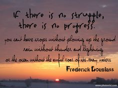 """""""If there is no struggle, there is no progress"""" -Frederick Douglass"""