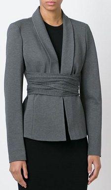 cross drape blazer, belted blazer, blazer with obi, self-belted blazer, Donna Karan (2.16)