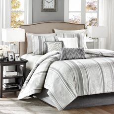 Madison Park Lowery Jacquard Silver 7-Piece King Comforter Set