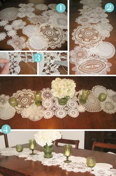 """An excellent DIY tutorial from Bead&Cord -- You can get such a great visual """"pop"""" from a dozen doilies, some well-placed thread, and a good eye."""