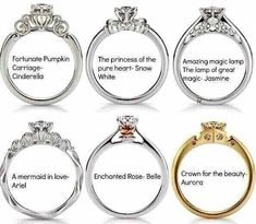 Disney designed some engagement rings  I want one of these and tob e proposed to in Disneyland with the guy dressed as captain hook from once upon a time (you know I have realistic expectations! HAHAHA)