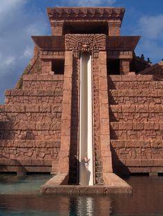 The Atlantis Mayan Temple Waterslide in the Bahamas