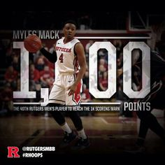 Rutgers Basketball Milestone Graphic for Myles Mack scoring his 1,000th point