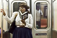 The Underground New York Public Library is a visual library featuring the Reading-Riders of the NYC subways. This project is not affiliated with The New York Public Library. S Bahn, African Diaspora, Kinds Of Clothes, New York Public Library, The Borrowers, Black Men, Cool Photos, At Least, Girl Fashion