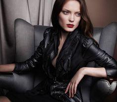 Crimson lips + black leather: Elie Tahari Fall / Winter 2011 Catalog