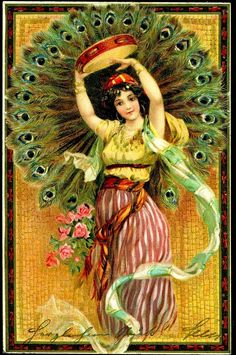 Vintage Cigarette card peacock feathers and gypsy