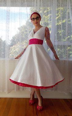 1950's Rockabilly Fenella Wedding Dress with Polka by PixiePocket