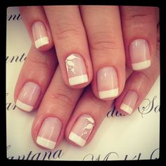 French mani with subtle accent nail.