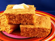 We are trying to cook healthier this year.  This cornbread uses cooked pumpkin, squash or sweet potato puree.  A 4 oz. or 41/2 oz. jar of baby food (check to make sure it is just puree) works well in this recipe.  This gives the cornbread a deep golden color.