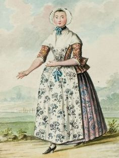 1770s - 18th century - woman's outfit with mixed print fabrics (jacket, skirt, and apron are each a different floral pattern)2