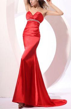 Red Sexy Column Sleeveless Backless Court Train Wedding Guest Dress
