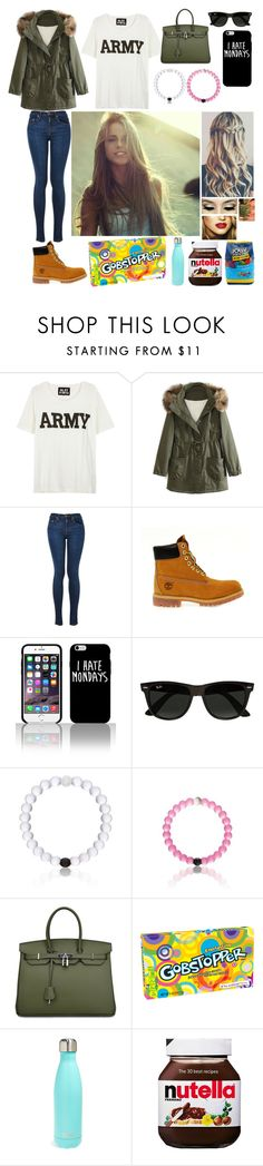 """""""Another day in school"""" by blessed-with-beauty-and-rage ❤ liked on Polyvore featuring NLST, WithChic, Timberland, Ray-Ban, Everest, S'well, ASOS, Hard Candy, women's clothing and women's fashion"""