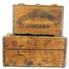2 wooden advertiser beer crates 1 crate marked United States brewing Co. with great old character in