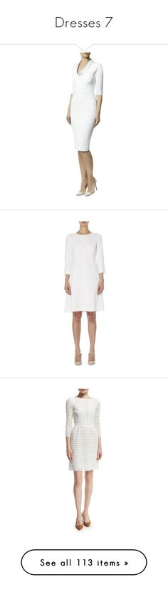 """""""Dresses 7"""" by ladyeleanormcclaire ❤ liked on Polyvore featuring dresses, white cowl neck dress, white day dress, white dress, white fitted dress, victoria beckham dresses, ivory, white three quarter sleeve dress, cotton a line dress and white cotton dress"""