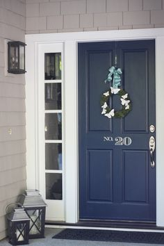 Beau Love The Color Combination Of Blue Door (and House Number Stencil) With  White And