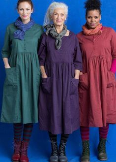 Dress in eco-cotton – Dresses & Tunics – Gudrun Sjödén Mode Outfits, Dress Outfits, Casual Dresses, Fashion Dresses, Linen Dresses, Cotton Dresses, Dresses With Sleeves, Dresses Dresses, Sewing Clothes