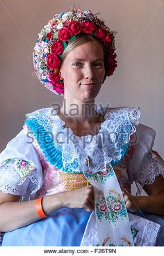 Woman in folk costume, Velke Pavlovice, South Moravia, Czech Republic, Europe - Stock Image