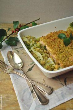 Hoje para jantar ...: Salmão com crosta e migas de grão de bico