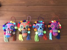 Handmade felted sugar skull pompoms / mexican embroidered