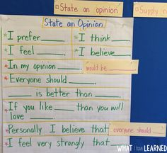 An anchor chart with sentence frames that we use when writing opinions. This is only one of the five anchor charts we created for this opinion unit. By the end of the week, students understood how the sentence frames could be used flexibly (hence the sentence strips).