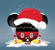 Mickey's House decorated for Christmas