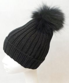 397881112ad48 JESSIMARA ALL BLACK WOOL HAT WITH FUR POM POM Fur Accessories