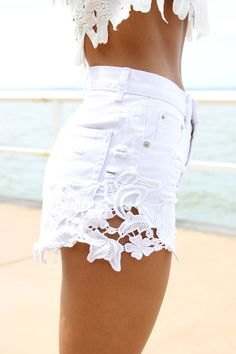 White Denim High-Waist Cut Off Shorts with Crochet Detail. Because there is never enough crochet or lace detailing going around! But a bit longer