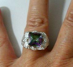 "3/8""Sq Rainbow Topaz Gemstone Size 8 ~ 925 Silver Setting Ring Jewelry #StatementCocktailRing Makes a great gift. #help #retweet #follow #repin http://stores.ebay.com/jewelryandthingsroseandersen5?_rdc=1"