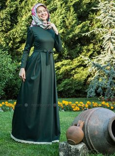 Shop Amine Green Dress - Green in Dresses category. Modanisa your online muslim modest fashion store. Hijabi Gowns, Hijab Abaya, Abaya Fashion, Modest Fashion, Fashion Dresses, Hijab Style, Hijab Chic, Simple Long Dress, Hijab Dress Party