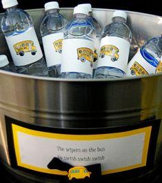 School bus labels/bottled water