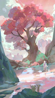 Fantasy Landscape, Landscape Art, Fantasy Art, Landscape Illustration, Illustration Art, Legend Of Zelda Breath, Identity Art, Cool Sketches, Breath Of The Wild