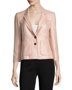 Escada 3/4-Sleeve Two-Button Blazer, Desert Rose, Women's, Size: 42