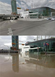 Jones Jones Ruiz Oh Calgary :( -- Before/After Downtown Calgary. Ave SE at St via Arruda Halling Network Kindness Of Strangers, My Route, Weather Network, Before And After Pictures, Jones Jones, Alex Jones, Calgary, Marina Bay Sands, Beautiful Places