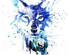 Wolf watercolor painting print  Wolf art dog art by SlaviART