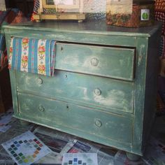 Beautiful chest of drawers in Duck Egg Blue over Old White in a two colour aged look.