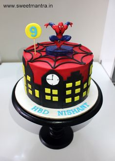 Spiderman Superhero theme customized designer fondant cake with toy topper for boy's birthday at Wakad, Pune