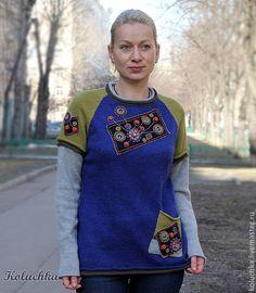 Купить Март - абстрактный, полувер, свитерок, Яркая одежда, весна 2014, koluchka, одежда на весну